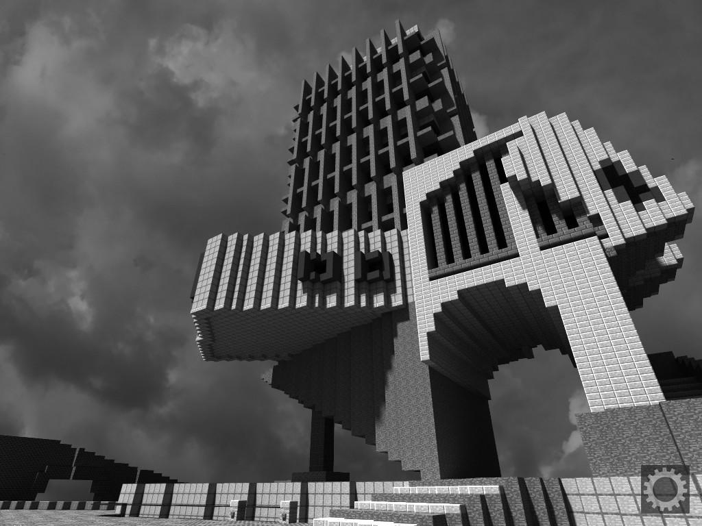Майнкрафт: архитектурный брутализм. Автор изображения: Lindblumen