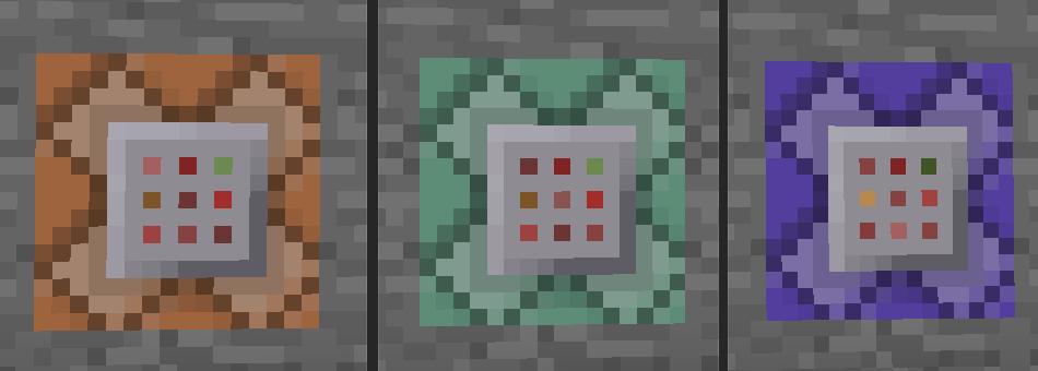Три командных блока: оранжевый, зеленый, фиолетовый